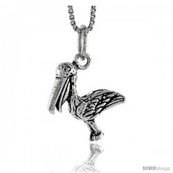 Sterling Silver Bird Pendant, 5/8 in tall