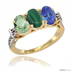 10K Yellow Gold Natural Green Amethyst, Malachite & Tanzanite Ring 3-Stone Oval 7x5 mm Diamond Accent