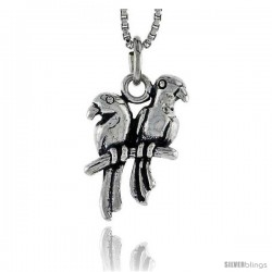 Sterling Silver Love Birds Pendant, 3/4 in tall