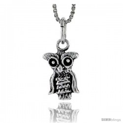 Sterling Silver Owl Pendant, 1/2 in tall