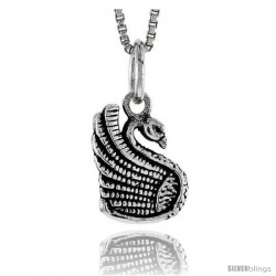 Sterling Silver Swan Pendant, 1/2 in tall -Style Pa1608