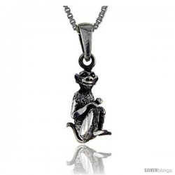 Sterling Silver Monkey Pendant, 1 in tall -Style Pa161
