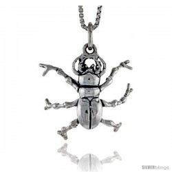 Sterling Silver Bug Pendant, 3/4 in tall