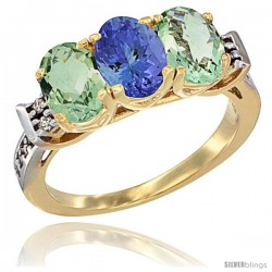 10K Yellow Gold Natural Tanzanite & Green Amethyst Sides Ring 3-Stone Oval 7x5 mm Diamond Accent