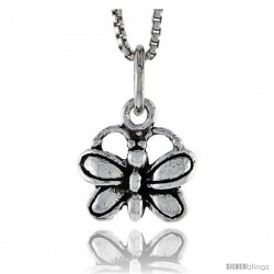 Sterling Silver Butterfly Pendant, 3/8 in tall