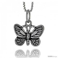 Sterling Silver Butterfly Pendant, 1/2 in tall