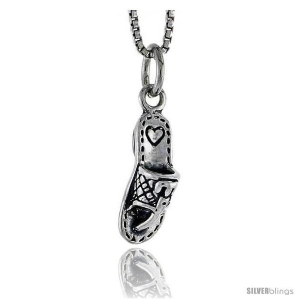 Sterling silver slipper pendant 58 in tall silverblings undefined aloadofball Image collections