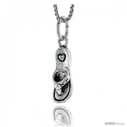 Sterling Silver Slipper Pendant, 5/8 in tall -Style Pa1617