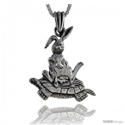 Sterling Silver Rabbit sitting on Turtle Pendant, 1 1/4 in tall