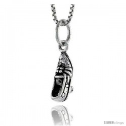 Sterling Silver Heeled Shoe Pendant, 1/2 in tall