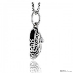 Sterling Silver Heeled Shoe Pendant, 1/2 in tall -Style Pa1623