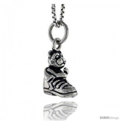 Sterling Silver Shoe w/ Bear Pendant, 1/2 in tall