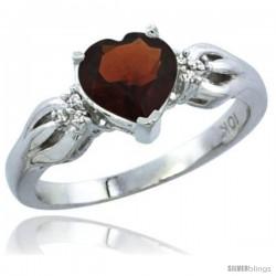 10K White Gold Natural Garnet Ring Heart-shape 7x7 Stone Diamond Accent