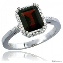 10K White Gold Natural Garnet Ring Emerald-shape 8x6 Stone Diamond Accent