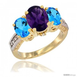 10K Yellow Gold Ladies 3-Stone Oval Natural Amethyst Ring with Swiss Blue Topaz Sides Diamond Accent