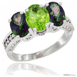 14K White Gold Natural Peridot & Mystic Topaz Ring 3-Stone 7x5 mm Oval Diamond Accent
