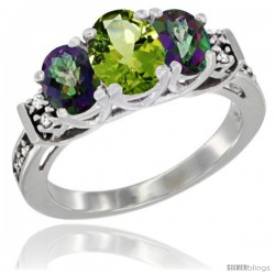 14K White Gold Natural Peridot & Mystic Topaz Ring 3-Stone Oval with Diamond Accent