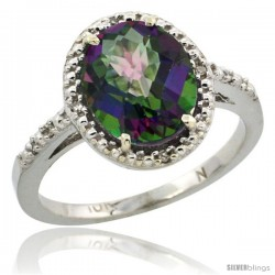 14k White Gold Diamond Mystic Topaz Ring 2.4 ct Oval Stone 10x8 mm, 1/2 in wide -Style Cw408111
