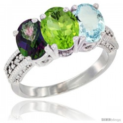 14K White Gold Natural Mystic Topaz, Peridot & Aquamarine Ring 3-Stone 7x5 mm Oval Diamond Accent