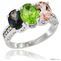 14K White Gold Natural Mystic Topaz, Peridot & Morganite Ring 3-Stone 7x5 mm Oval Diamond Accent