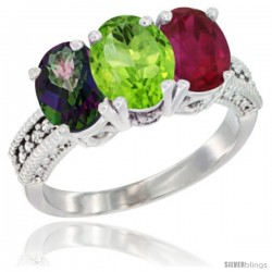 14K White Gold Natural Mystic Topaz, Peridot & Ruby Ring 3-Stone 7x5 mm Oval Diamond Accent