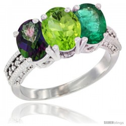 14K White Gold Natural Mystic Topaz, Peridot & Emerald Ring 3-Stone 7x5 mm Oval Diamond Accent