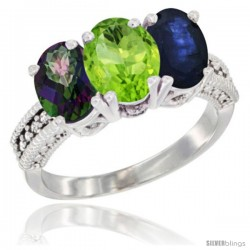14K White Gold Natural Mystic Topaz, Peridot & Blue Sapphire Ring 3-Stone 7x5 mm Oval Diamond Accent