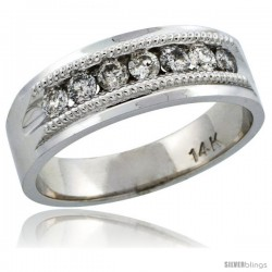 14k White Gold 7-Stone Milgrain Design Men's Diamond Ring Band w/ 0.64 Carat Brilliant Cut Diamonds, 9/32 in. (7mm) wide