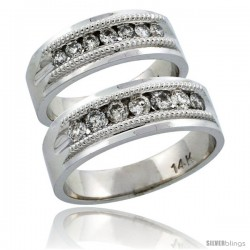 14k White Gold 2-Piece His (7mm) & Hers (6.5mm) Milgrain Design Diamond Wedding Ring Band Set w/ 0.86 Carat Brilliant Cut