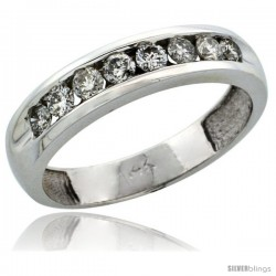 14k White Gold 8-Stone Ladies' Diamond Ring Band w/ 0.47 Carat Brilliant Cut Diamonds, 3/16 in. (4.5mm) wide