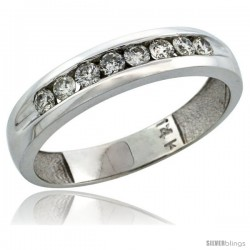 14k White Gold 8-Stone Men's Diamond Ring Band w/ 0.47 Carat Brilliant Cut Diamonds, 3/16 in. (5mm) wide
