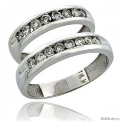 14k White Gold 2-Piece His (5mm) & Hers (4.5mm) Diamond Wedding Ring Band Set w/ 0.94 Carat Brilliant Cut Diamonds