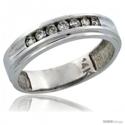 14k White Gold 7-Stone Ladies' Diamond Ring Band w/ 0.21 Carat Brilliant Cut Diamonds, 3/16 in. (5mm) wide