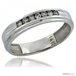 14k White Gold 7-Stone Men's Diamond Ring Band w/ 0.21 Carat Brilliant Cut Diamonds, 3/16 in. (5mm) wide