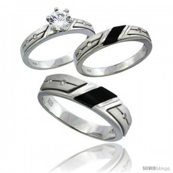 Sterling Silver Cubic Zirconia Trio Engagement Wedding Ring Set for Him & Her 5.5 mm Black Onyx, L 5 - 10 & M 8 - 14