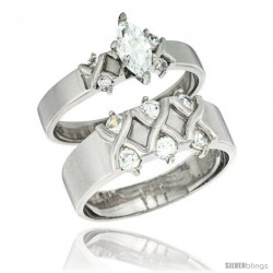 Sterling Silver Cubic Zirconia Engagement Rings Set for Him & Her Marquise Cut 3/8 in wide