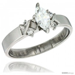 Sterling Silver Cubic Zirconia Engagement Ring 0.75 ct Marquise Cut 3/16 in wide