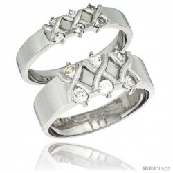 Sterling Silver Cubic Zirconia 2-Piece Wedding Ring Set for Him 9mm 3/8 in wide & Her 5mm 3/16 in wide
