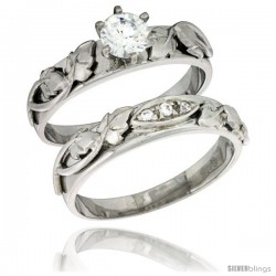Sterling Silver Cubic Zirconia Ladies' Engagement Ring Set 2-Piece, 3/16 in wide -Style Agcz614e2