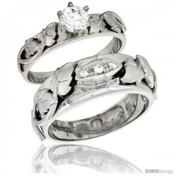 Sterling Silver Cubic Zirconia Engagement Rings Set for Him & Her Round Brilliant Cut 5/16 in wide