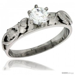 Sterling Silver Cubic Zirconia Solitaire Engagement Ring 1 ct size Brilliant cut Brilliant Cut 3/16 in wide
