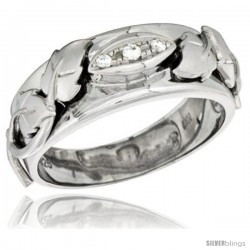 Sterling Silver Cubic Zirconia Mens Wedding Band Ring 5/16 in wide