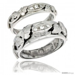 Sterling Silver Cubic Zirconia 2-Piece Wedding Ring Set for Him 8mm 5/16 in wide & Her 5mm 3/16 in wide