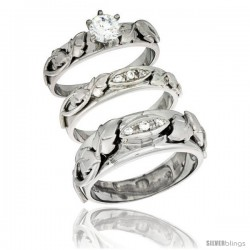 Sterling Silver Cubic Zirconia Trio Engagement Wedding Ring Set for Him & Her, men's band 5/16 in wide, L 5 - 10 & M 8 - 14