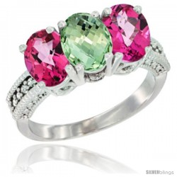 10K White Gold Natural Green Amethyst & Pink Topaz Sides Ring 3-Stone Oval 7x5 mm Diamond Accent