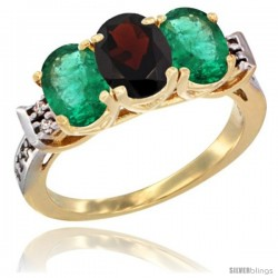 10K Yellow Gold Natural Garnet & Emerald Sides Ring 3-Stone Oval 7x5 mm Diamond Accent
