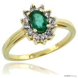 10k Yellow Gold Emerald Diamond Halo Ring Oval Shape 1.2 Carat 6X4 mm, 1/2 in wide