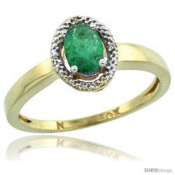10k Yellow Gold Diamond Halo Emerald Ring 0.75 Carat Oval Shape 6X4 mm, 3/8 in (9mm) wide