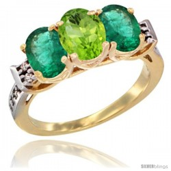 10K Yellow Gold Natural Peridot & Emerald Sides Ring 3-Stone Oval 7x5 mm Diamond Accent