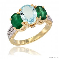 10K Yellow Gold Ladies 3-Stone Oval Natural Aquamarine Ring with Emerald Sides Diamond Accent